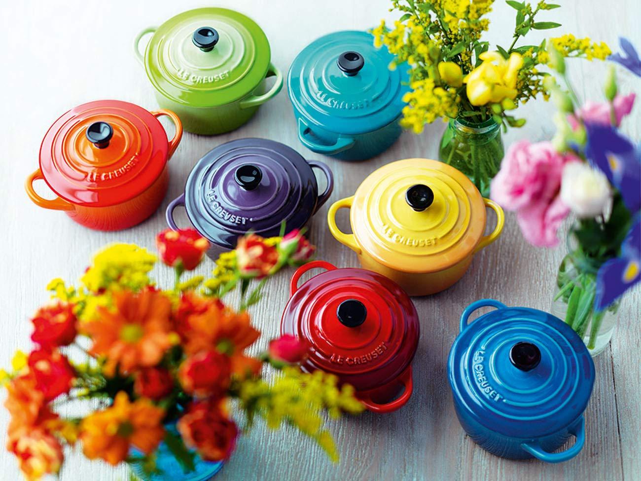Le Creuset 91006900060010 Le Set de 4 Petites Cocottes en C/éramique 0.2 L-Cerise