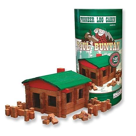 Amazoncom Roy Toy 100 Pc Log Cabin Building Set Toys Games