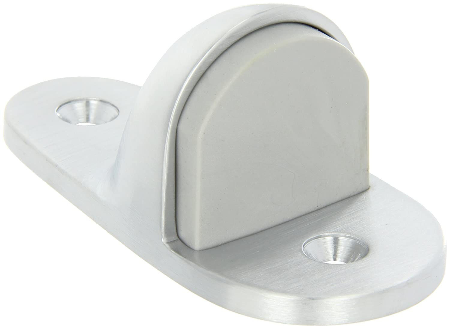 Satin Chrome Plated Finish #12 X 1-1//2 FH SMS Fastener with Plastic Anchor and 2-24 x 1 FH MS Fastener with Lead Anchor 2 Base Width x 4 Base Length 1-11//16 Height Rockwood 445H.26D Brass Heavy Duty Door Stop