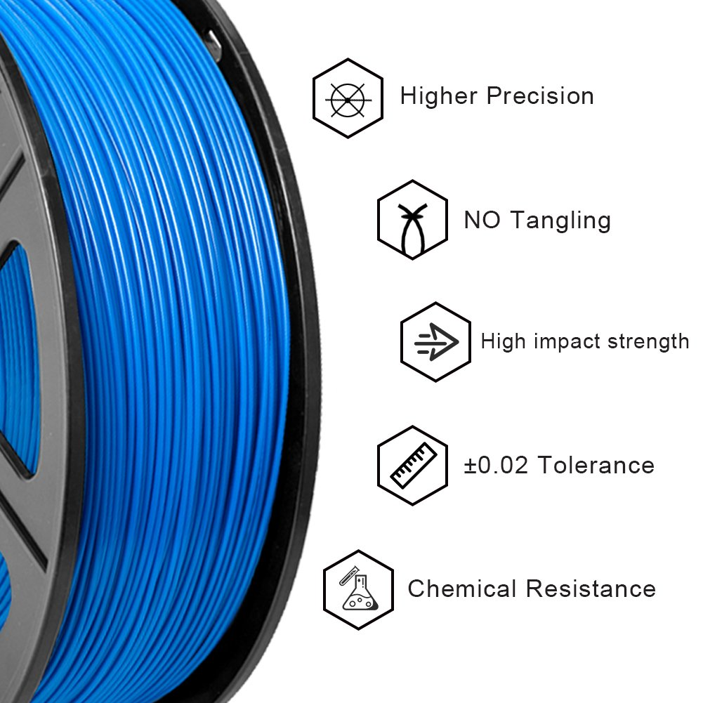 PLA Filament Black ,1.75mm Filament 3D Hero PLA Filament 1.75mm,PLA 3D Printer Filament 2.2 LBS Dimensional Accuracy +//- 0.02 mm 1KG Bonus with 5M PCL Nozzle Cleaning Filament