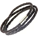 Plaited Leather Strap Wrap Around Leather Bracelet - (MAX WRIST SIZE 19cm) - Wraps Around The Wrist 3 Times