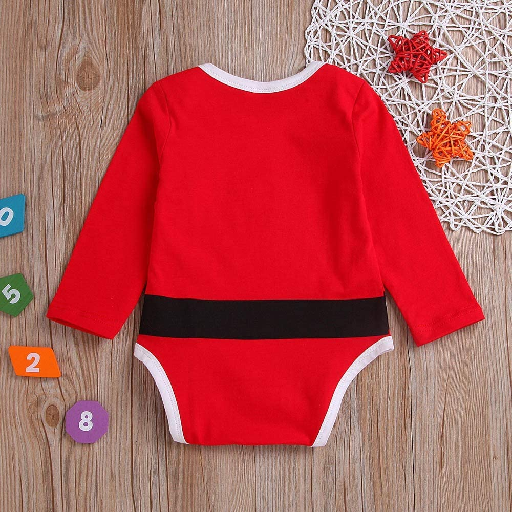 Kobay Christmas Universal Baby Romper Outfits Infant Baby Girls Boys Long Sleeve Letter Print Christmas Jumpsuit Clothe for 0-2 Years