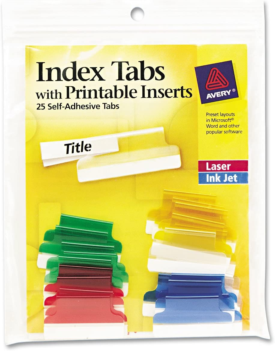 Avery 16219 Insertable Index Tabs with Printable Inserts, 1, Assorted Tab (Pack of 25), Assorted: Blue, Clear, Green, Red, Yellow : Binder Index Dividers : Office Products