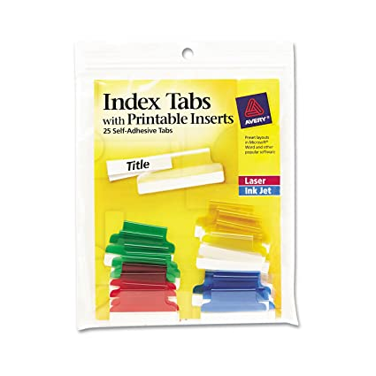 graphic relating to Printable Index Tabs titled Avery 16219 Insertable Index Tabs with Printable Inserts, 1, Diversified Tab (Pack of 25), Various: Blue, Apparent, Inexperienced, Pink, Yellow