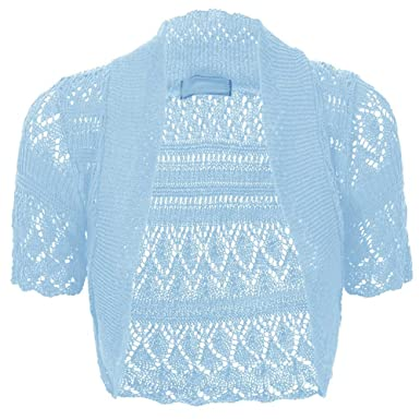 Baleza Women Short Sleeve Knitted Crochet Shrug Bolero Cardigan