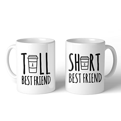 Amazon 365 Printing Tall And Short Best Friend BFF Mugs Christmas Birthday Gifts Kitchen Dining
