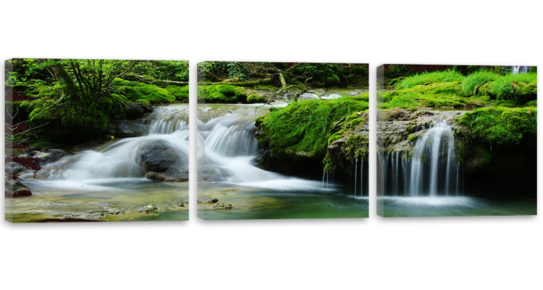 Feeby Frames, Leinwandbild, Bilder, Wand Bild - 3 Teile - Panoramabild, Wandbilder, Kunstdruck 180x60 cm, WASSERFALL, WALD, WASSER, NATUR, GRÜN, WEISS