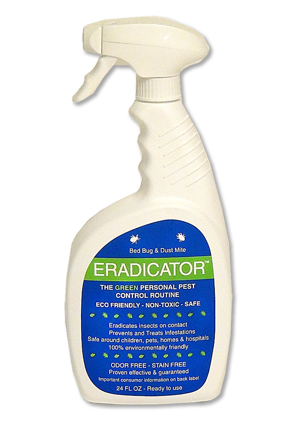 Bed Bug, Dust Mite ERADICATOR 24oz ready to use spray, natural enzymes that safely removes bugs, scientific efficacy test proven