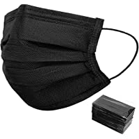 50 PCS Black Disposable Face Masks Non-Woven Breathable Dust Mask with Stretchable Earloops Individually Wrapped Black…