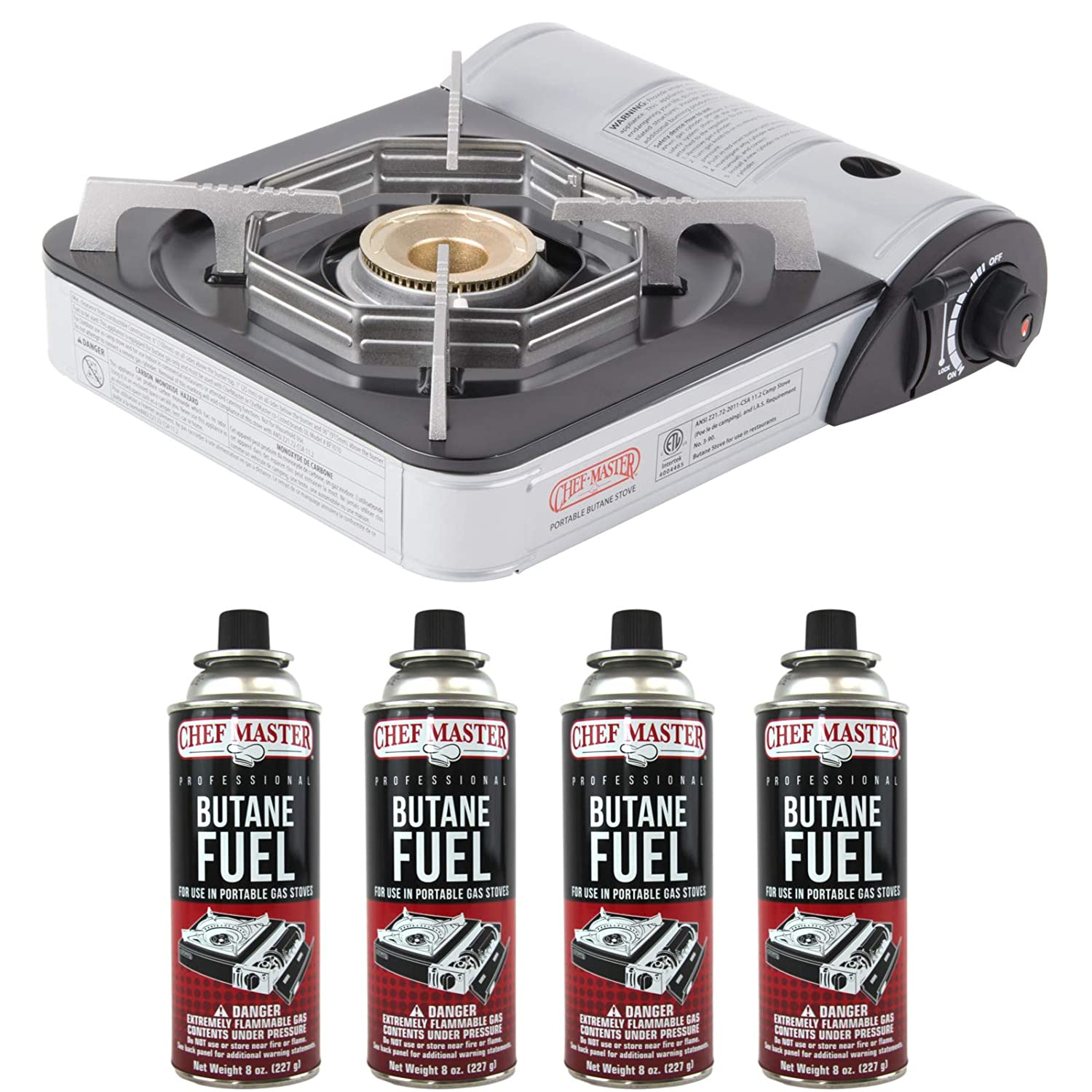Chef-Master 90011 Portable Butane Stove | 10,000 BTU Outlet | Carrying Case Included | Stove + 4 Fuel Canisters