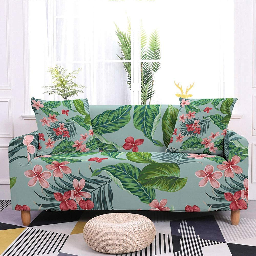 Sofa Slipcover,Super Stretch Couch Cover Tropical Red Flower Green Leaf Print Blue Washable Microfiber Sofa Covers For Armchair Loveseat Living Room Furniture Protector Friendly,M:140,180Cm(55,71Inch