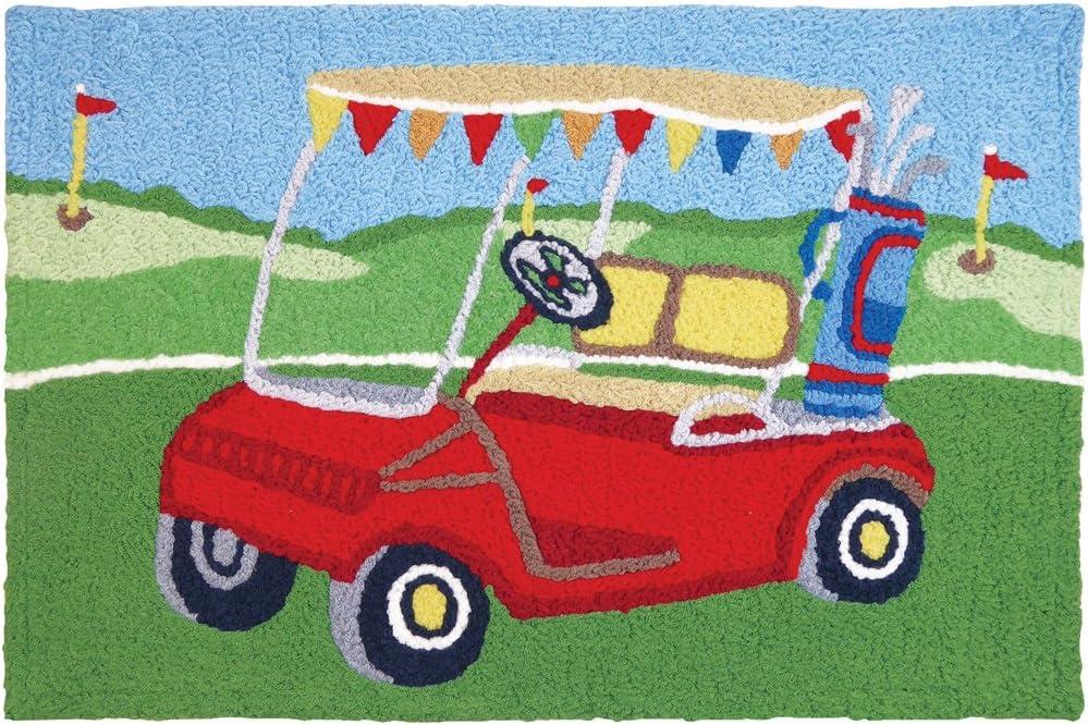 """Jellybean Golf Cart Kitchen Indoor/Outdoor Machine Washable 21"""" x 33"""" Accent Rug"""
