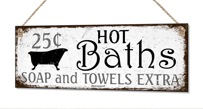 Amazon.com: Retro baño caliente baños Shabby cartel de metal ...
