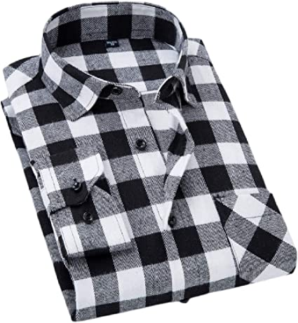 Cromoncent Mens Button-Down Long Sleeve Plaid Casual Fashion Shirt Shirt