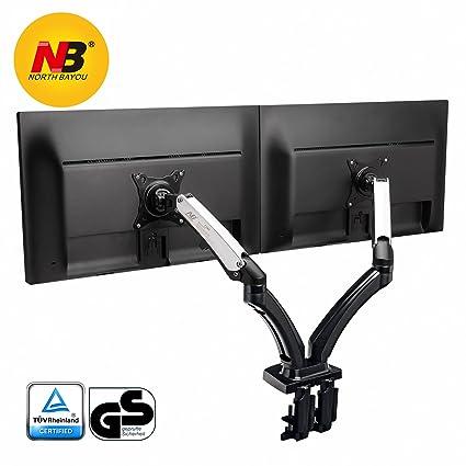 NB North Bayou F160 17-27 Dual Monitor Tischhalterung mit Justierbare Gasfeder Monitor Halterung Ergonomische 2 Monitore Bildschirm Halterung 2-6.5kg Frei Drehbar 360/° VESA 75 100 /…