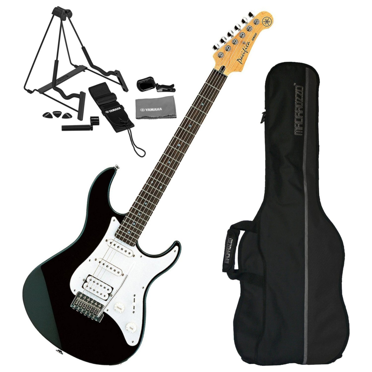 Amazon.com: Yamaha Pacifica PAC112J Black Electric Guitar w/ Gig Bag and Guitar Accessory Pack: Musical Instruments