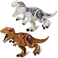 BeneGlow 2 Sets Large Size Lifelike Multicoloured 3D Jigsaw Puzzles T-Rex Dinosaur Building Blocks for Children (Larger Size, White + Coffee)
