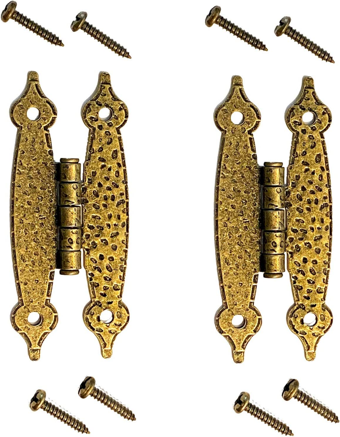 """2 Heavy Duty Hammered Antique Brass Gold Hinge - 3.5"""" Long Antique Cabinet Vintage Furniture Reproduction"""