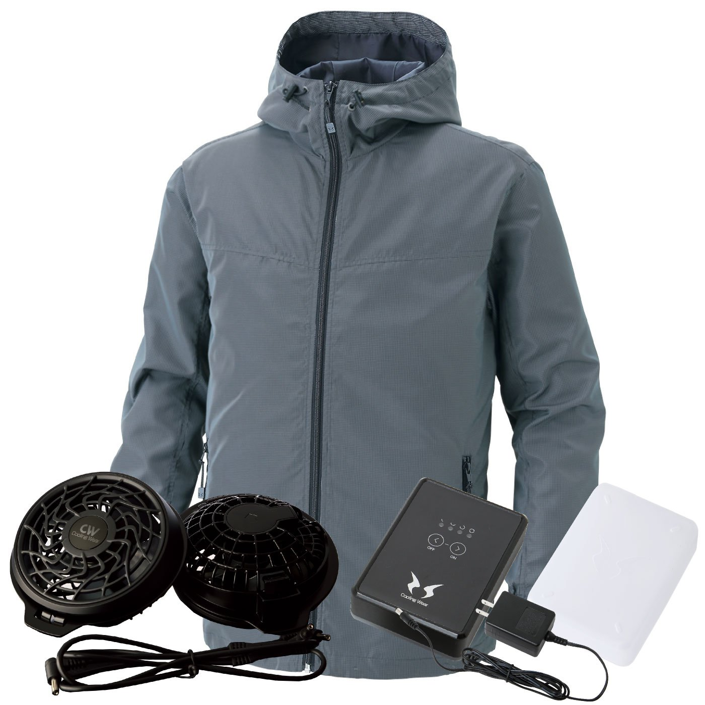 SUN-S(サンエス) 空調風神服 フード付 ss-ku90700-lx 【空調服+ファン+バッテリー】 B07CSKC5RQ XL|チャコール チャコール XL