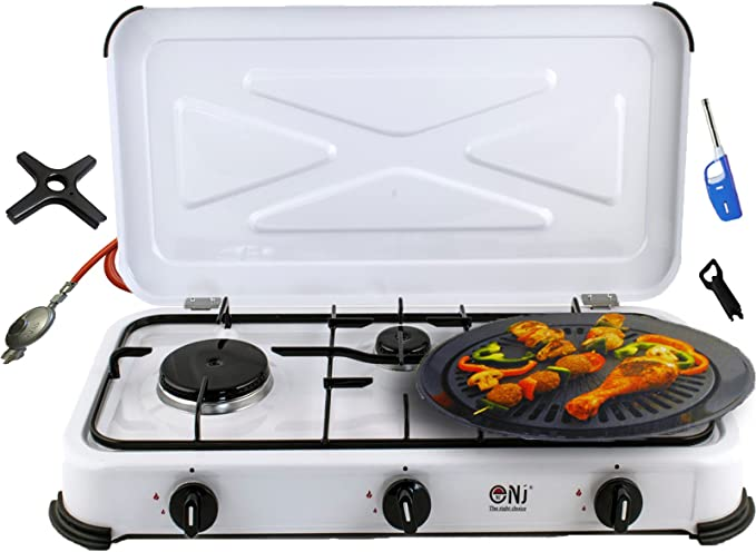 Hornillo de gas para camping, 3 fuegos, parrilla de gas, 4,25 kW, con tapa, placa de cocción + cruz de cocina de gas Phönix + regulador de manguera de ...