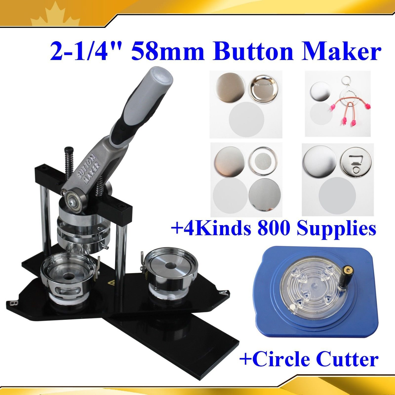 Superior N3 2-1/4'' 58mm Badge Maker+4 Kinds 800 Button Supplies+circle Cutter