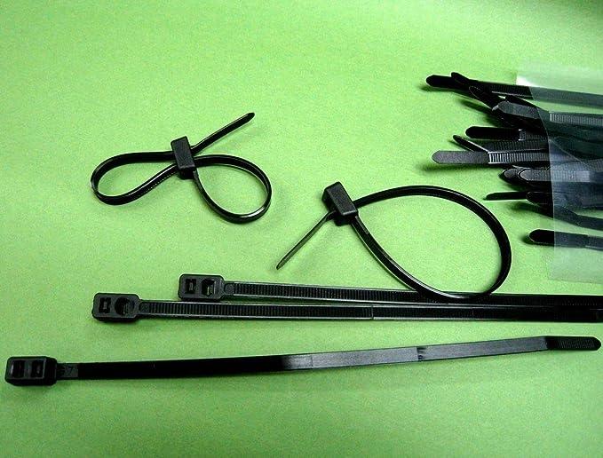 2GT-200B Black Nylon Double Loop Wire Organizer Cable Zip Tie 200x4.8mm #gtc x30