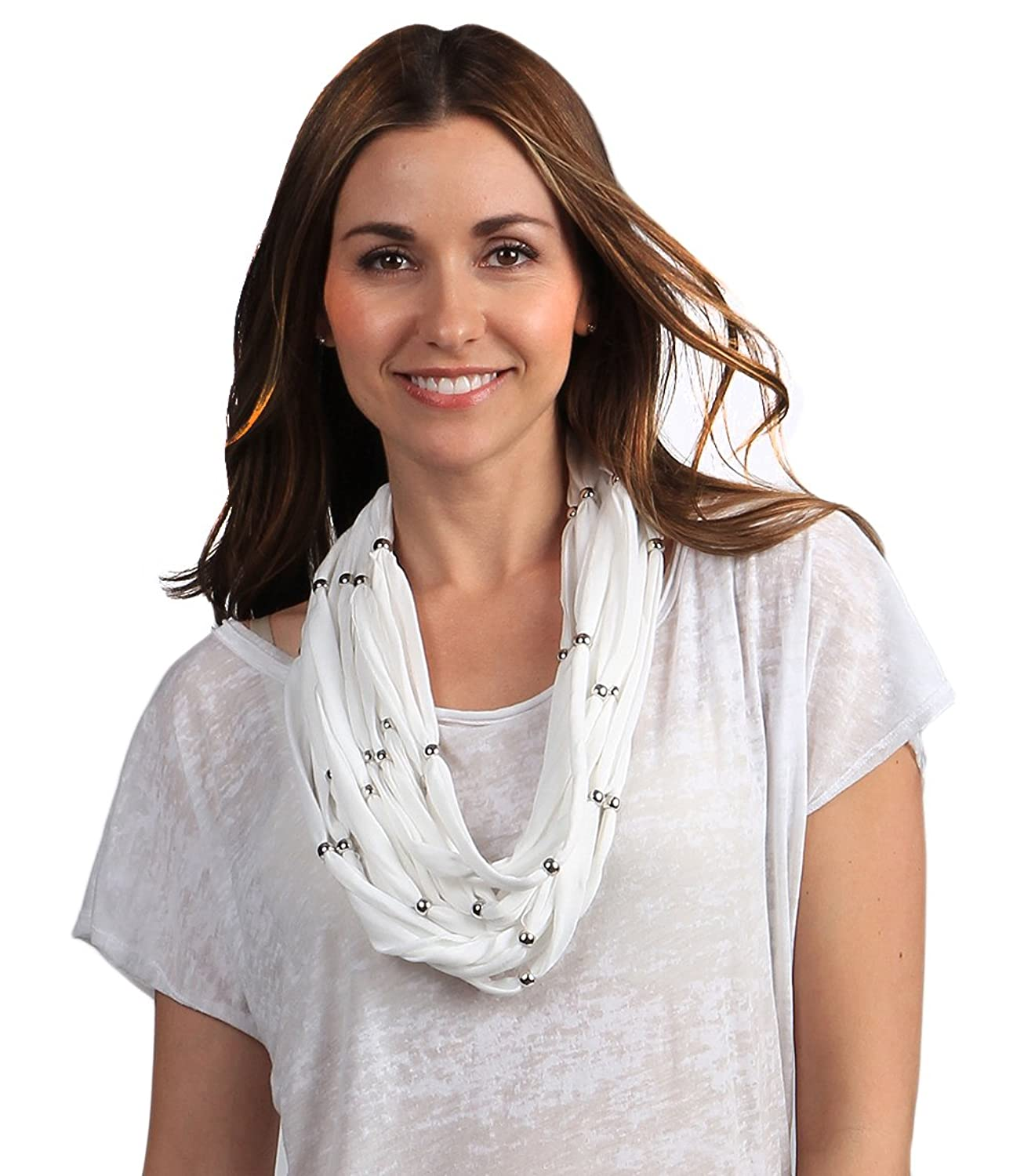 StylesIlove Chic Lightweight Jeweled Womens Scarf, 64-inch Long