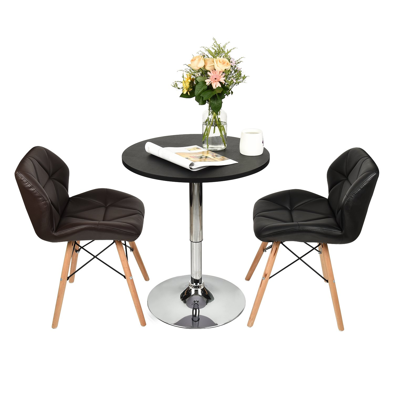 Elecwish Modern Round Bar Table Adjustable Bistro Pub Counter Wood Top Swivel Indoor (Black)