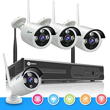 Wireless 4CH 1080P NVR Outdoor Wifi IR-CUT HD Camera Security System Android iOS