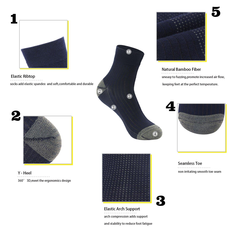 GATHER OTHER 5 Pares Respirable Calcetines de Fibra de Bamb/ú Anti-olor Antibacteriano Altura del Tobillo para Hombre y Mujer
