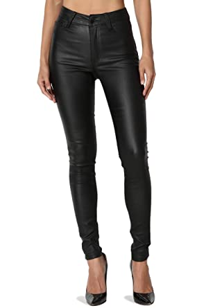 66b30e77a7d TheMogan Women's High Waisted Stretch Faux Leather Skinny Pants Black 0