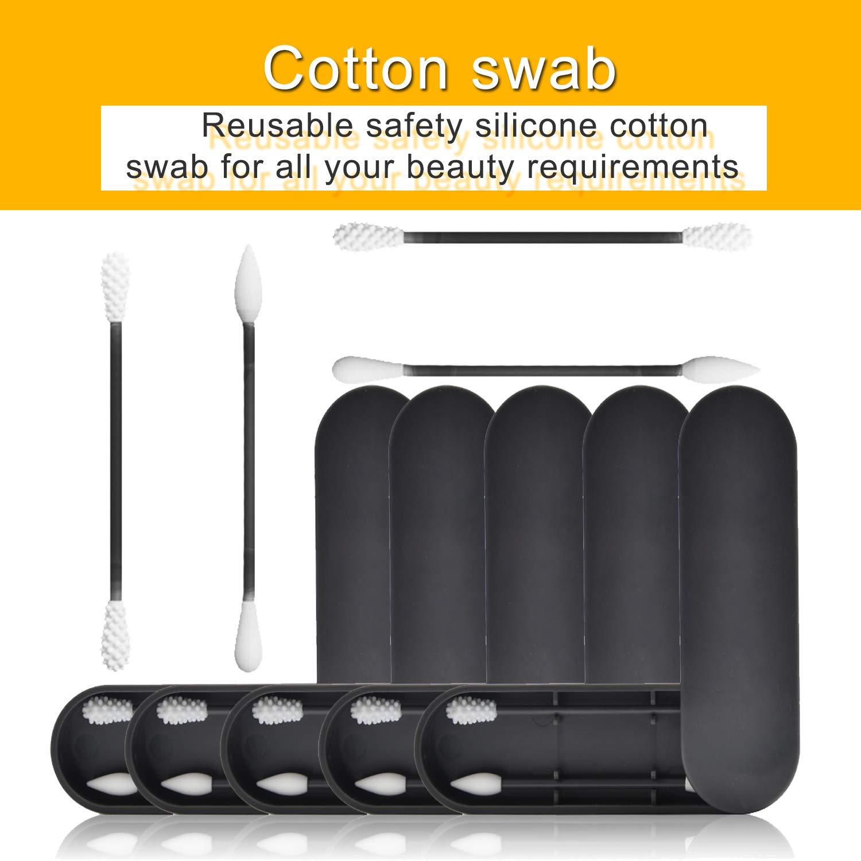 Blizim Coton Tige Reutilisable Lavable Silicone Coton Bourgeons B/âtons S/écurit/é