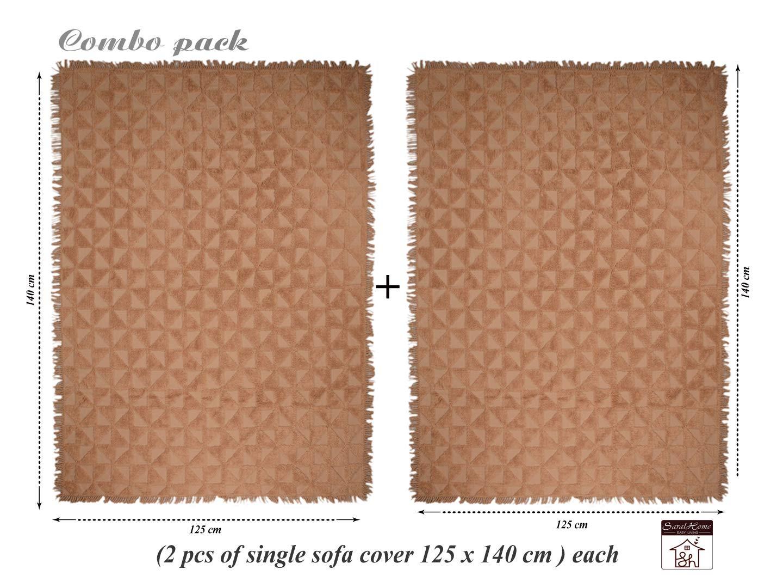 Saral Home Soft Cotton Unique Firki Design Tufted Throw/Sofacover Set of 2 Pc -140x125 cm, Beige (B07GZQ6784) Amazon Price History, Amazon Price Tracker