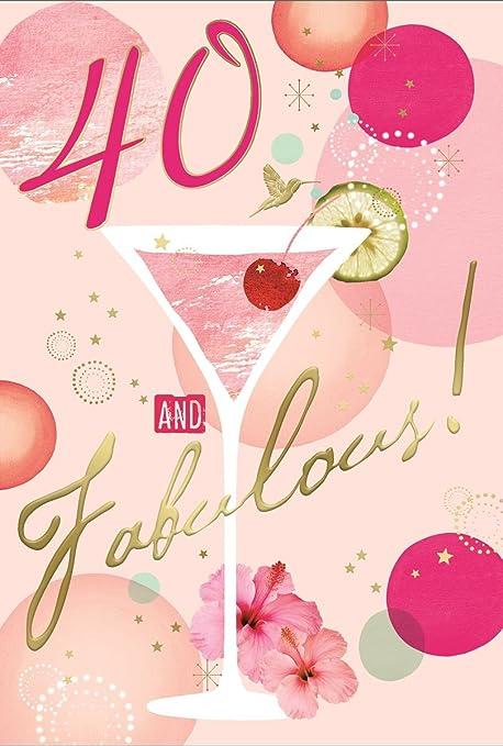 Greetings Tarjeta de cumpleaños para Mujer de 40 años - Rosa ...