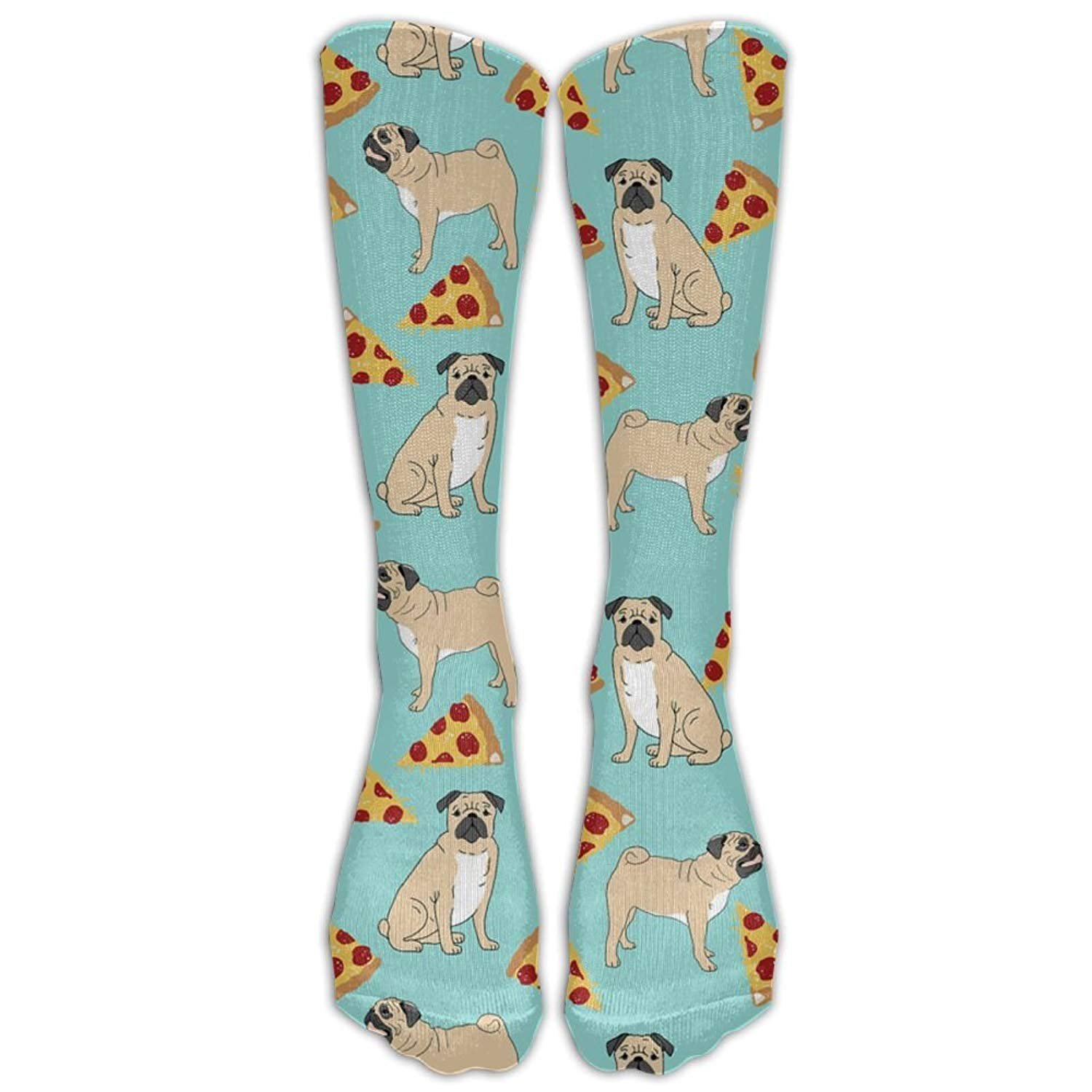 Funny Vector Dogs Pug Puppies Pattern Pizza Comfort Cool Vent Crew Socks, One Size FK-XQ