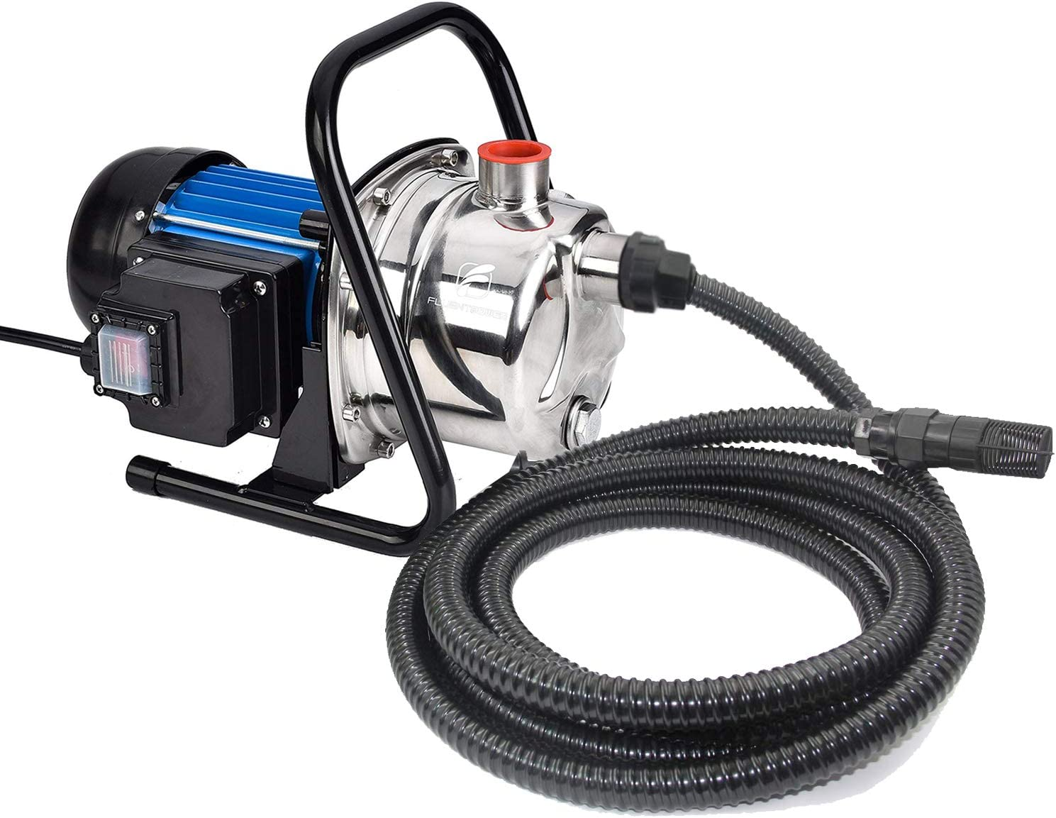 FLUENTPOWER 1 HP Portable Stainless Steel Sprinkling Pump, Water Transfer Pump, Shallow Well Pump for Home Garden Lawn Irrigation and Pressure Booster, 13FT Intake Hose with check valve included
