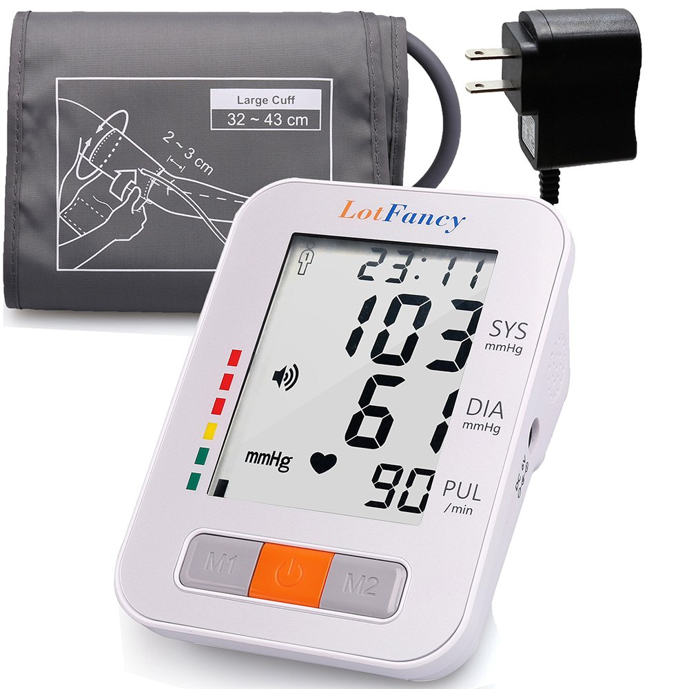 """LotFancy Blood Pressure Monitor, Upper Arm Large Cuff (13-17""""), Electronic Sphygmomanometer, 180-Readings Talking Function (FDA Approved)"""