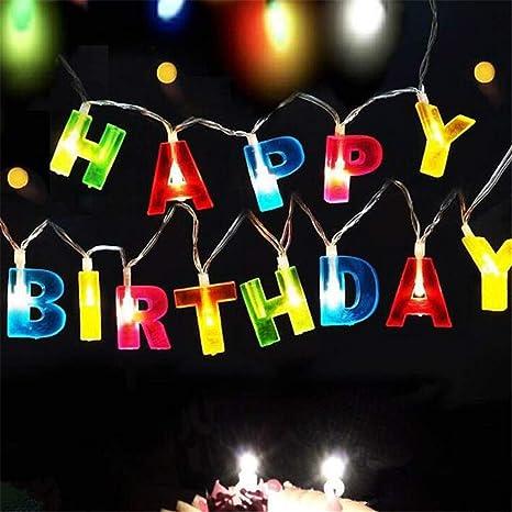 BABIFIS Cadena de luz LED Feliz cumpleaños 13 Letra de LED ...