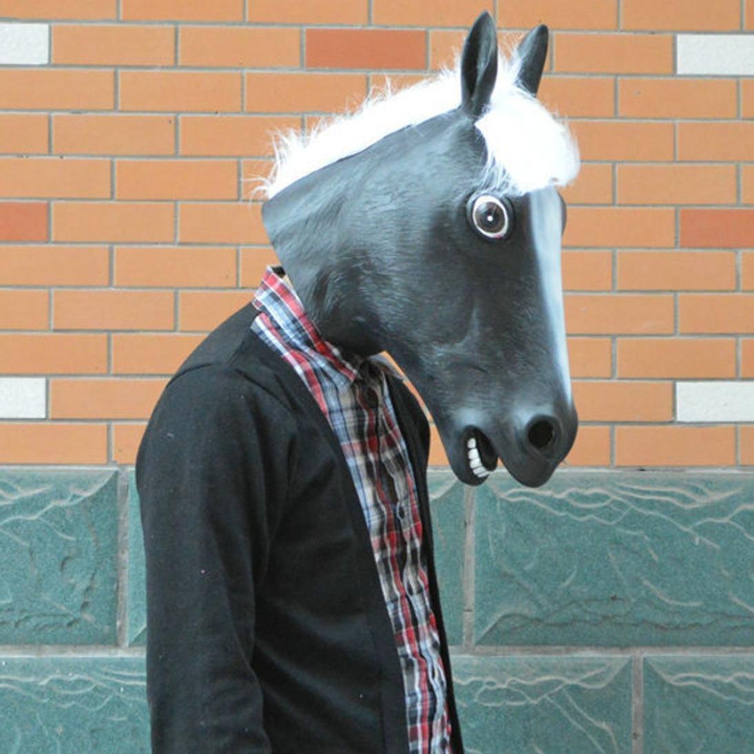 Siswong Mascara Caballo Látex de la Cabeza de Caballo para El Partido Disfraces Maquillaje Carnaval Accesorios Profesional Animales Costume (Negro): ...