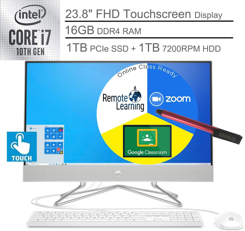"2020 HP 24 AIO 23.8"" FHD Touchscreen All in One Desktop Computer_ 10th Gen Intel Quard-Core i7-10510U_ 16GB DDR4 RAM, 1TB HDD + 1TB PCIe SSD, Windows 10_ BROAGE 64GB Flash Stylus, Online Class Ready"