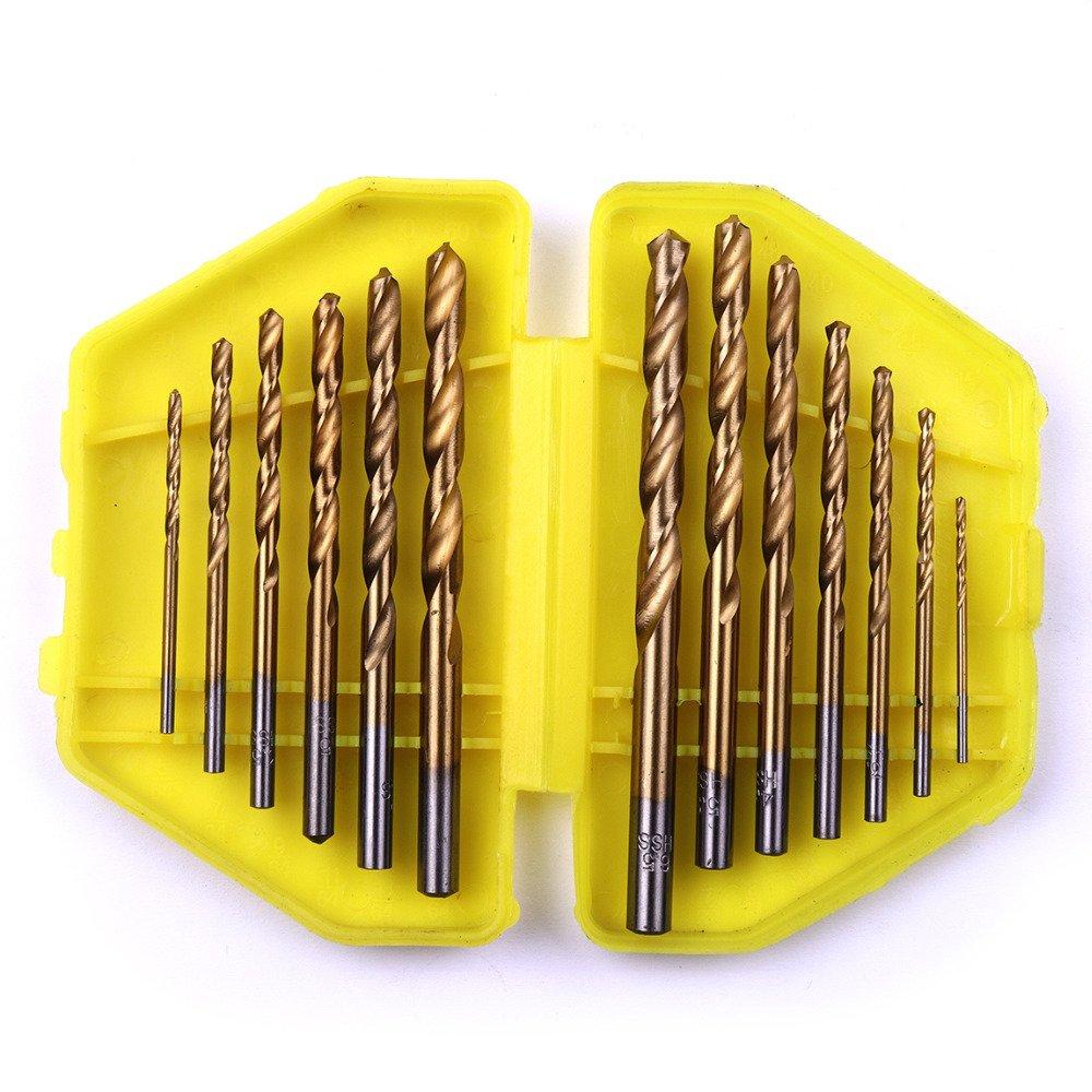 13pcs/Lot Professional 1/16 To 1/4 Inch HSS Titanium Imperial Twist Drill Bit Set