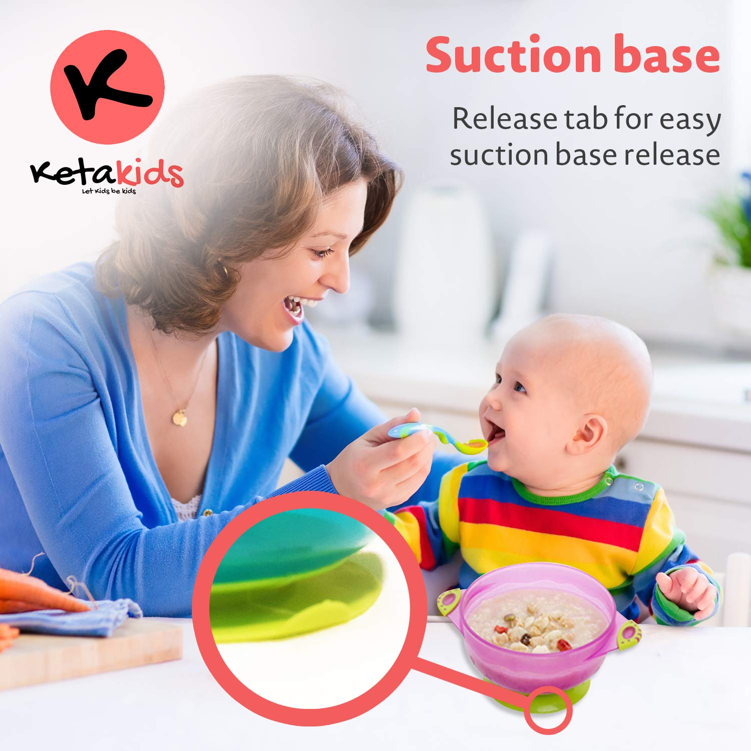 Ketakids Best Suction Baby Bowls for Toddler and Babies Set of 3 Spill Proof Stackable to Go Suction Bowls with Seal Tight Lids Great Baby Shower Gift Set