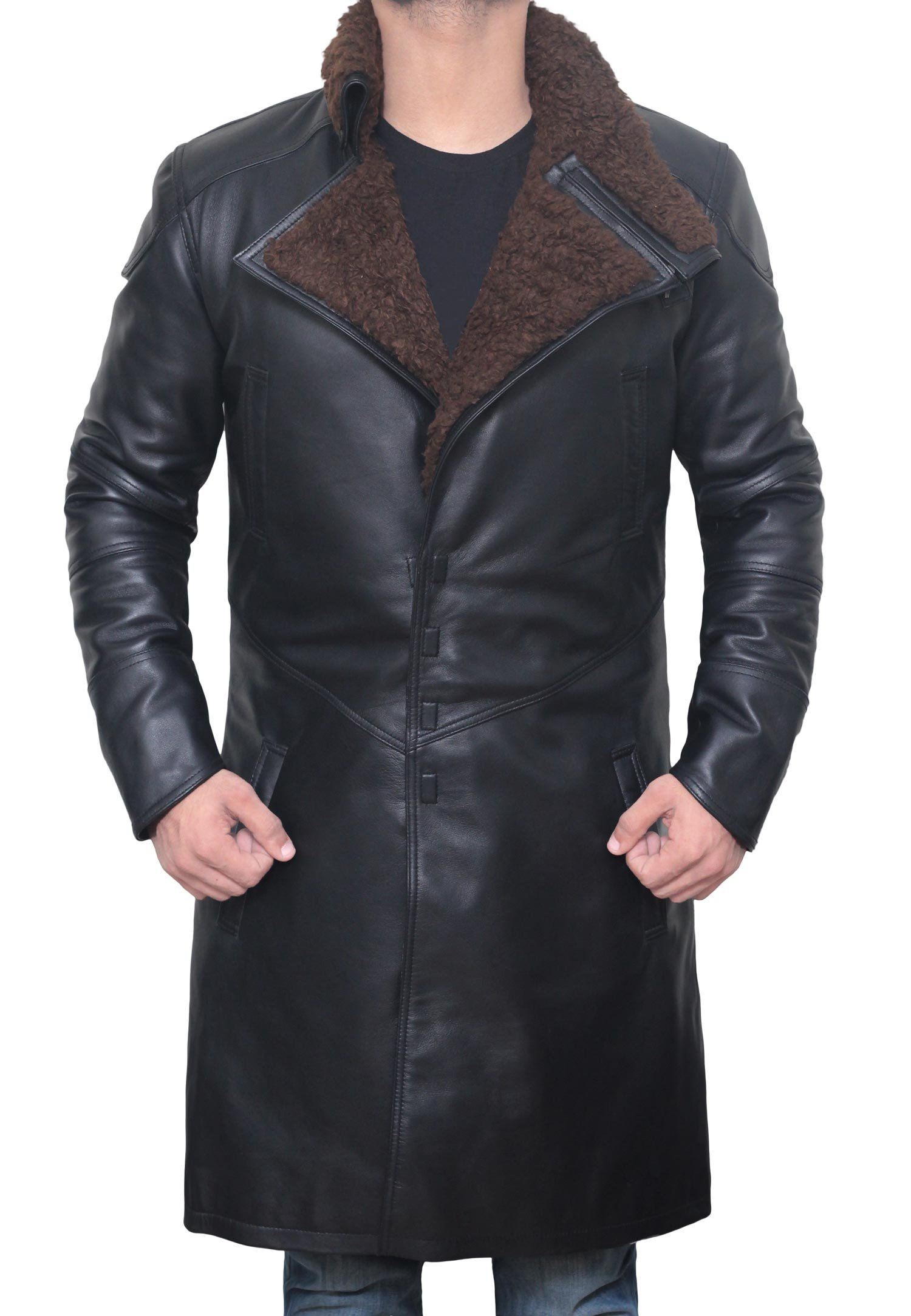 Mens Ryan Gosling Coat - Magnet Closure Blade Runner Black Real Leather Coat, S