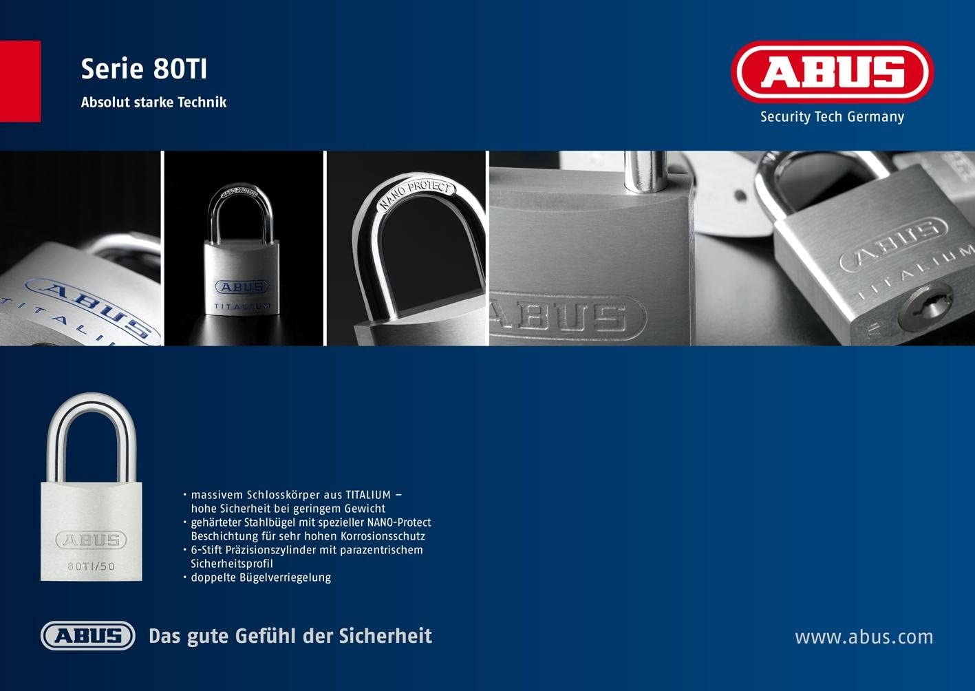 Abus 562273-80TI//40HB63 Candado Titalium arco Nano protect y llave de 6 pitones 40mm arco extralargo