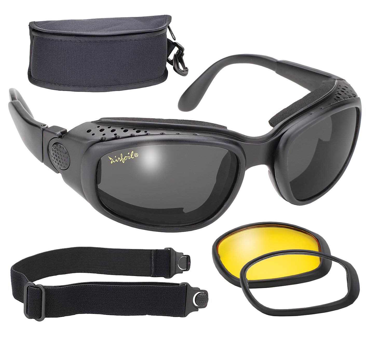 Pacific Coast 9100 Airfoil Windproof Lens Kit (Black Frame/Smoke, Yellow, Clear Lens) Pacific Coast Sunglasses Inc.