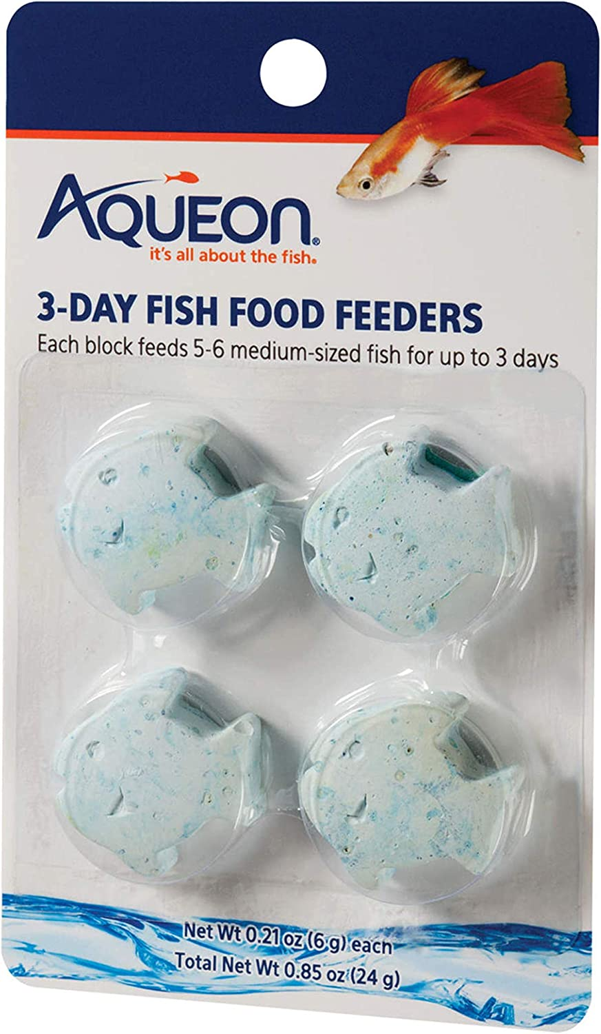 Aqueon Food Fish Feeder, 3-Day, 4-Pack