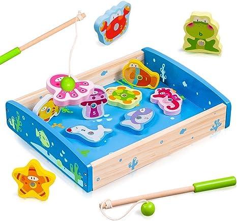 Yikky juego de pesca de madera magnética y rompecabezas con imanes ...