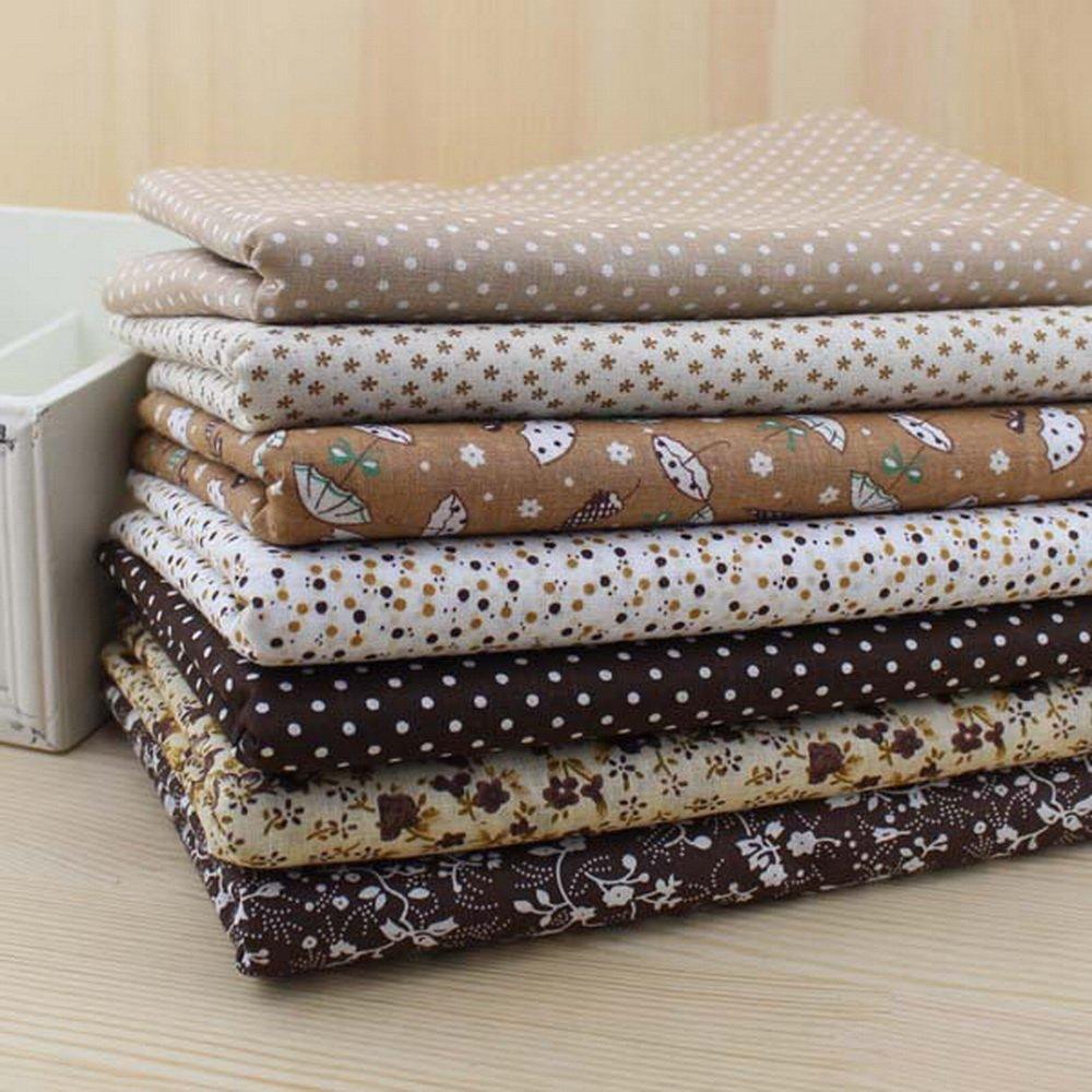 7 Pieces Coffee Series Cotton Fabric Patchwork Fabric Square, Fat Quater Bundle Quilting 50cmx50cm