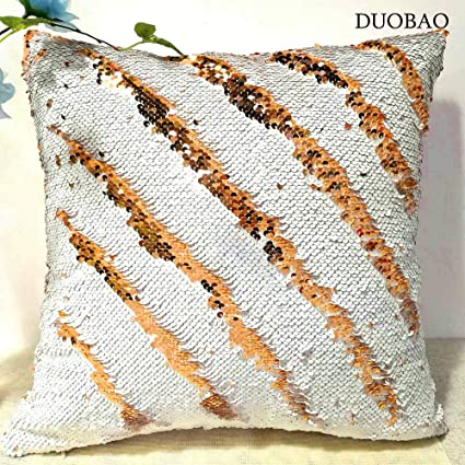 Amazon.com: DUOBAO Sequin Pillow Covers 20x20-Inch White to ...