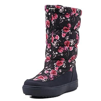 Women's Drawstring Nylon Fabric Snow Boots E7624